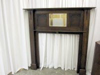 1920's Oak Fireplace Mantel Bevel Mirror From England For