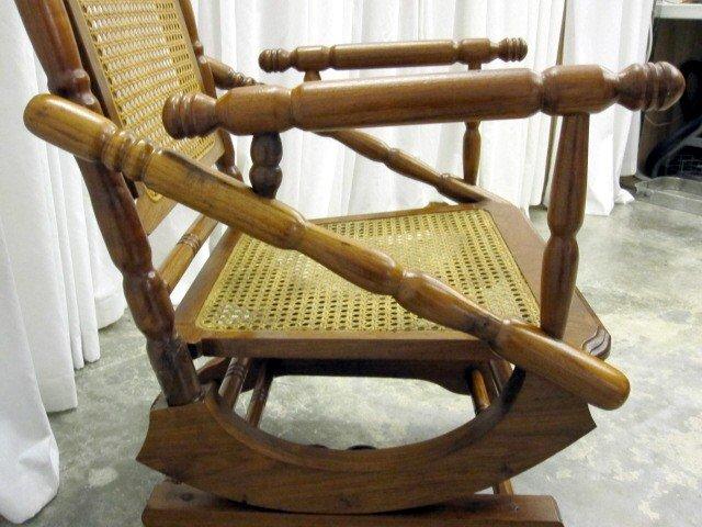 Mint Antique Oak Platform Rocker With Cane Back  Seat For