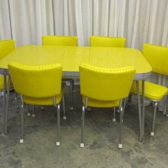 Retro Tables And Chairs Side For Dining Room Table Mid Century 1950 S Yellow Chrome 6 Sale