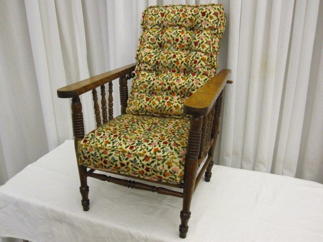 Antique Oak Childs Morris Recliner Chair w Cushions For