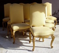 Set of ten fine, Italian, Rococco, tall-back dining chairs ...