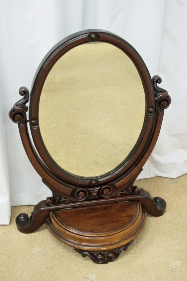 Victorian Oval Mahogany Toilet Mirror Antiques