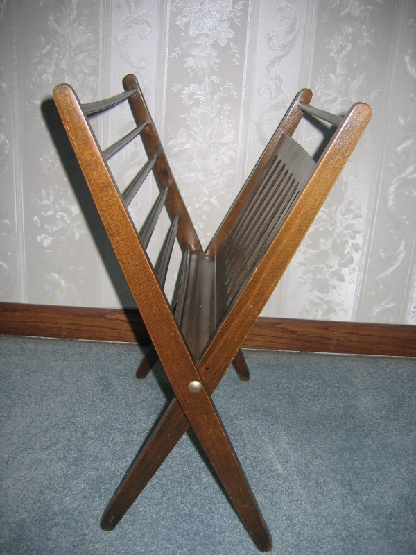 Vintage Romanian Wood Magazine Rack Stand