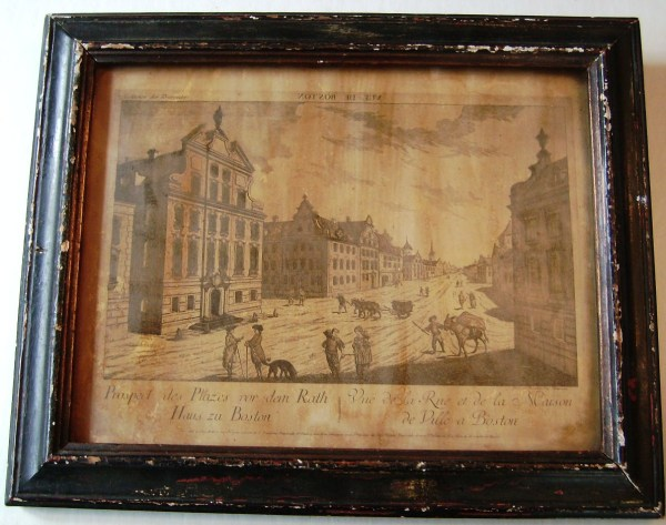 Rare Antique1920' Borghese Wood Framed Print Boston