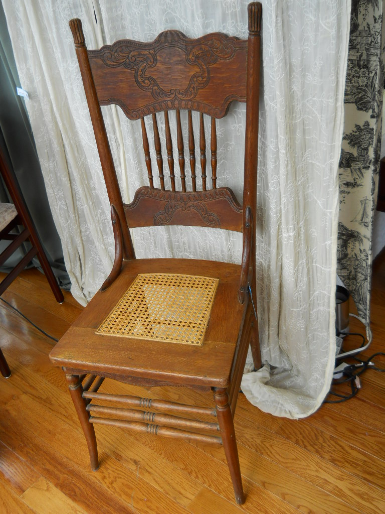 solid oak pressed back chairs cacoon swing chair antique cane seat | furniture