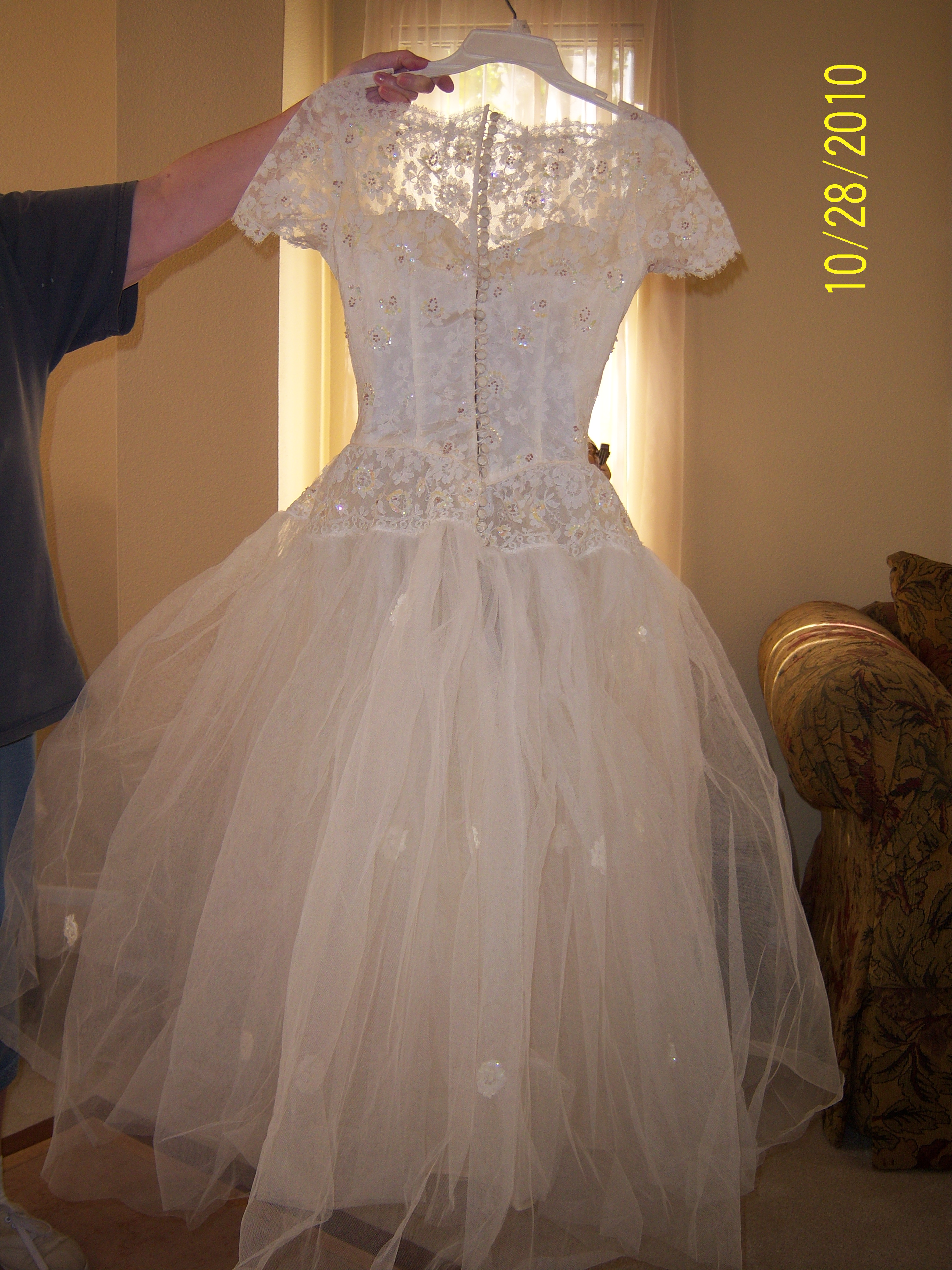 1957 Ivory Tulle and Lace Ballerina Style Wedding Dress