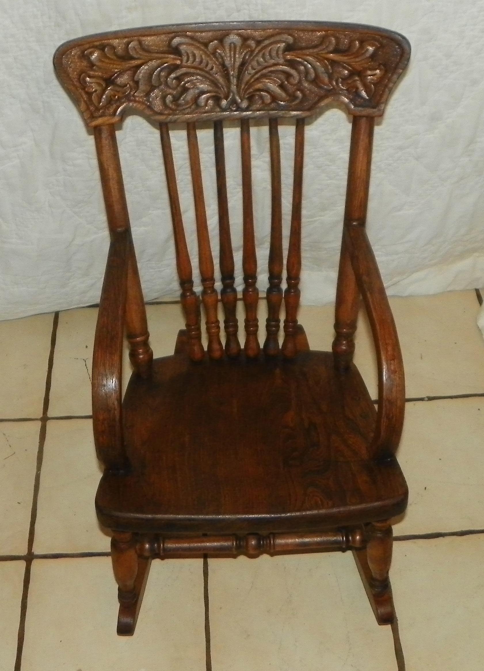antique child rocking chair kubu dining elm carved 39s rocker r170 for sale