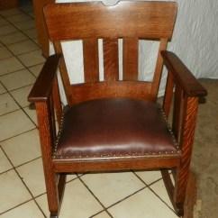 Brown Leather Rocking Chair Soft Bean Bag Quartersawn Oak Arts And Crafts Rocker