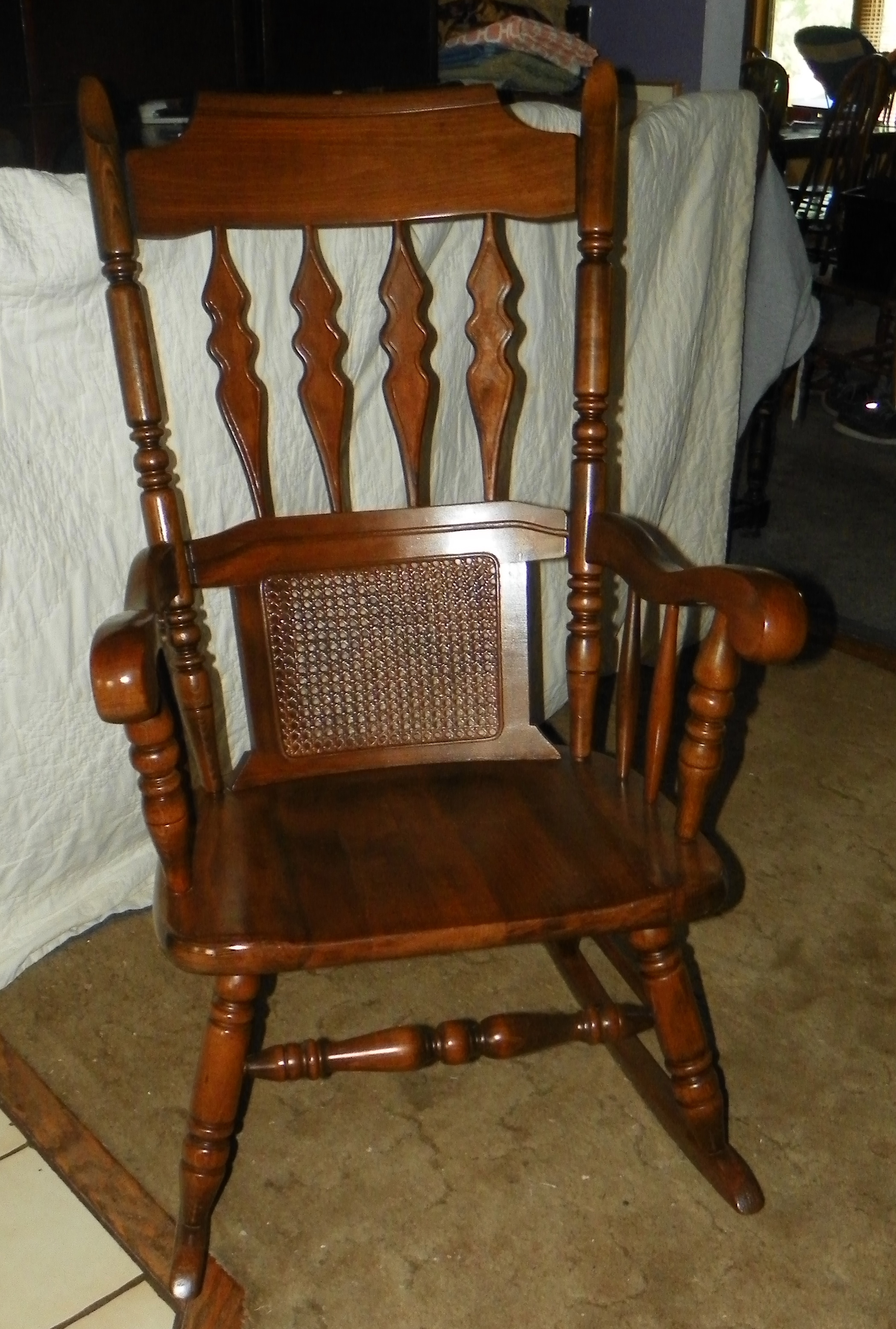 cane back chairs antique wooden seat maple rocker rocking chair r169 for sale