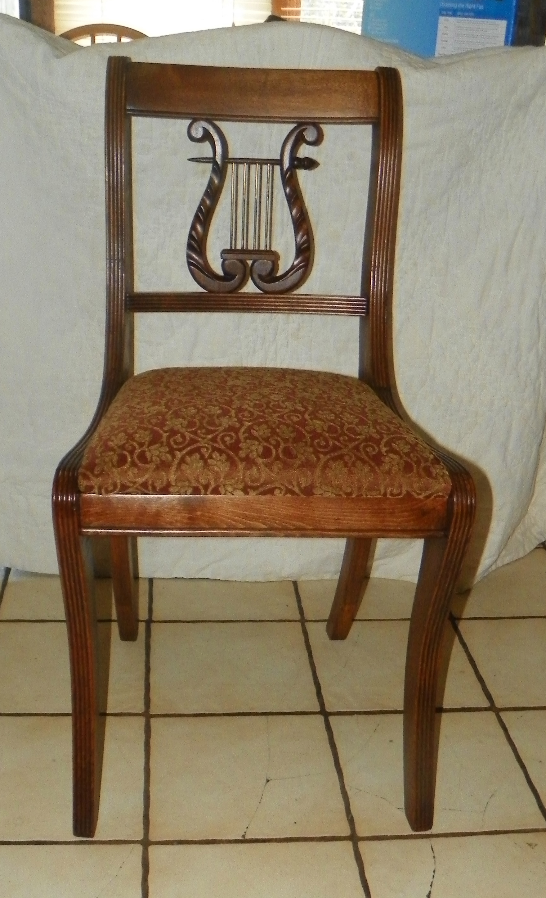 Mahogany Lyre Back Desk Chair  Sidechair by Tell City