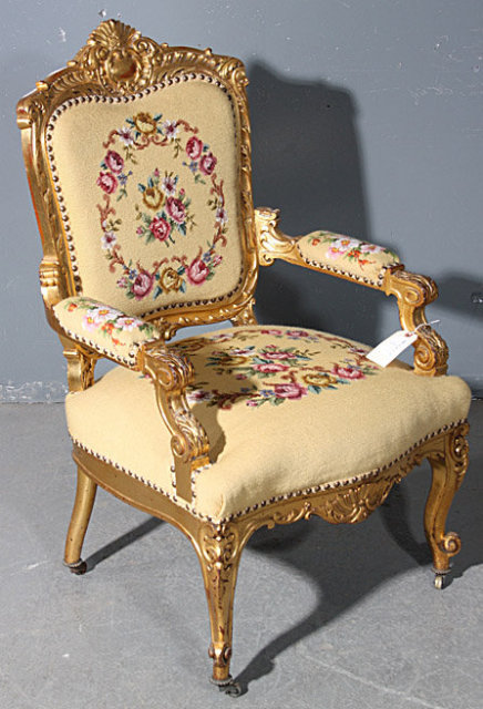 GREAT GILDED CARVED ROCOCO AMERICAN VICTORIAN ARM CHAIR