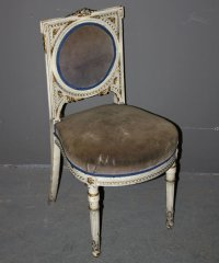 PAINTED FRENCH LOUIS XVI BOUDOIR SLIPPER CHAIR GILT For