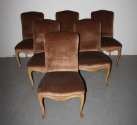 6 FRENCH LOUIS XV UPHOLSTERED PAINTED DINING CHAIRS For ...