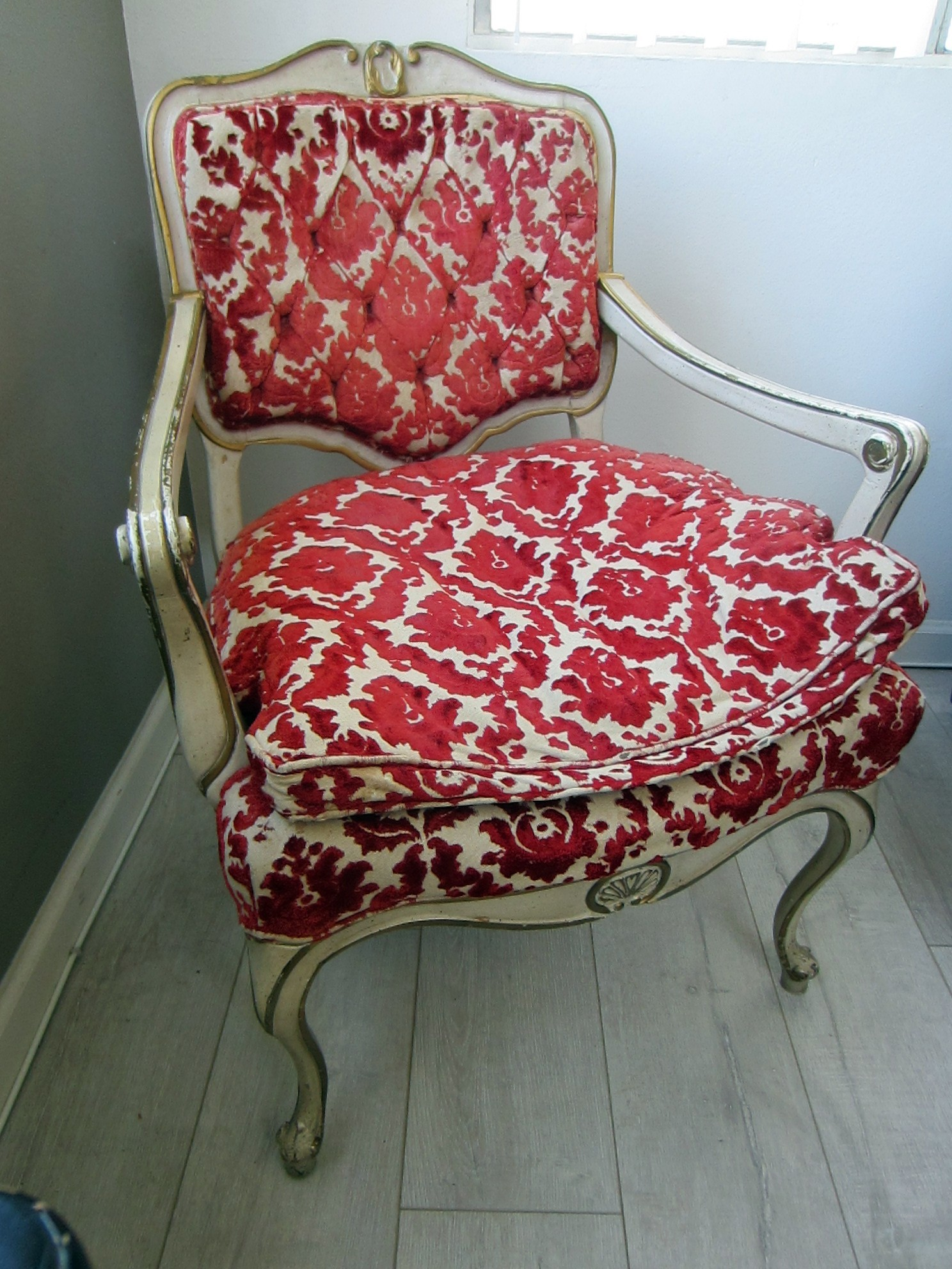 white chairs for sale grain sack chair french hibriten arm red floral textile gold