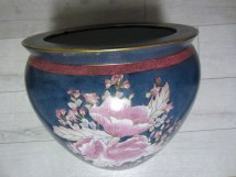 Chinese Porcelain Fish Bowl Planter Hand Painted Floral