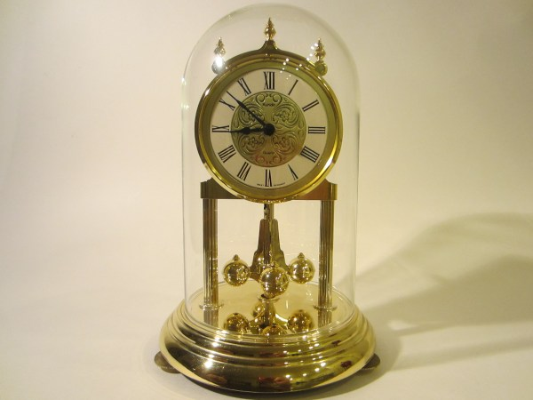Kundo West Germany Anniversary Mantle Clock Glass Dome