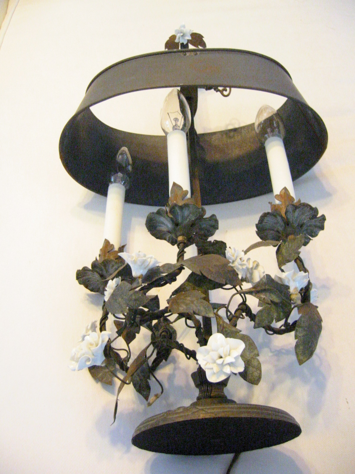French Tole Bouillotte Lamp White Porcelain Flowers For