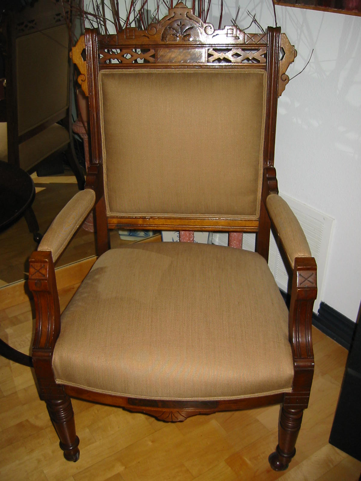 wood chairs for sale beach amazon empire arm chair crested updated upholstery