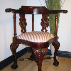 Wooden Corner Chair Revolving Manufacturer George Ii Style Mahogany Updated Upholstery For Sale Wood Recently Reupholstered With Gorgeous Stripe Silk Textile Vase Shape Splat Pierced Decoration