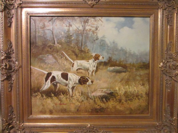 Remington Hunting Scene Dogs Oil Canvas