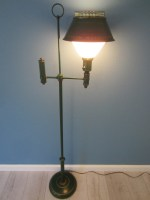 Green Tole Floor Lamp French Style Metal Gilt Embossed For ...