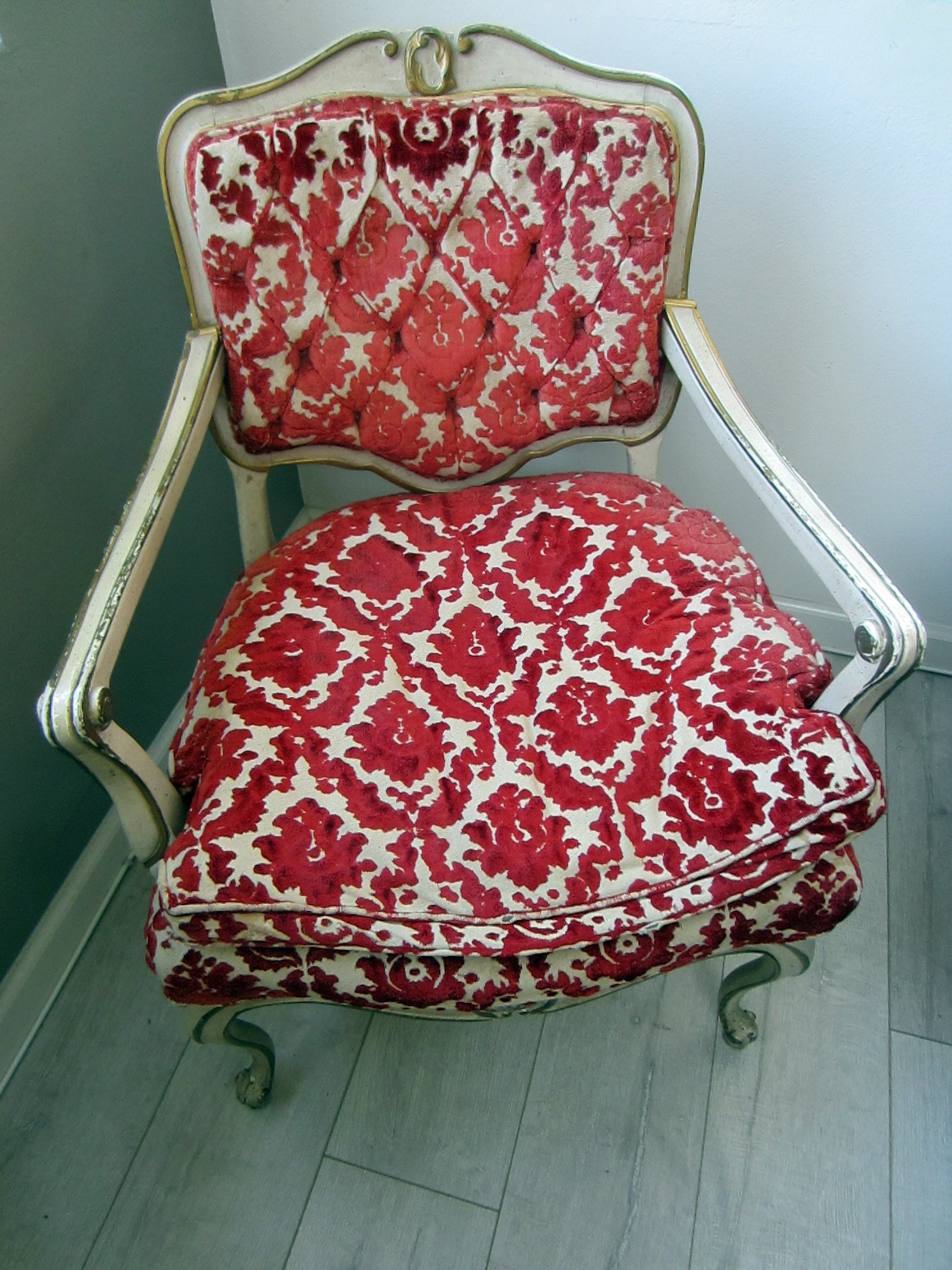 floral arm chair stokke high cushion install french hibriten red textile white gold