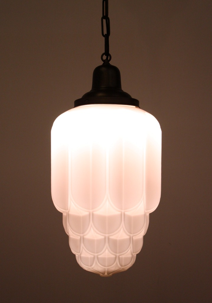 Two Matching Antique Art Deco Skyscraper Pendant Lights With Sun Purple Shades Nc1082 For Sale