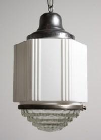 Antique Art Deco Skyscraper Pendant Light with Two-Part ...