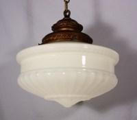 Large Antique Pendant Light Fixture with Original Milk ...