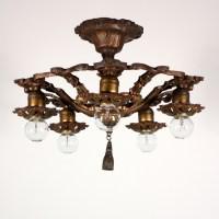 Fabulous Antique Semi Flush Mount Five-Light Chandelier ...