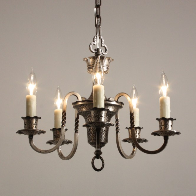 Delightful Antique Spanish Revival Five Light Chandelier Silver Plate C 1920 For Antiques Classifieds