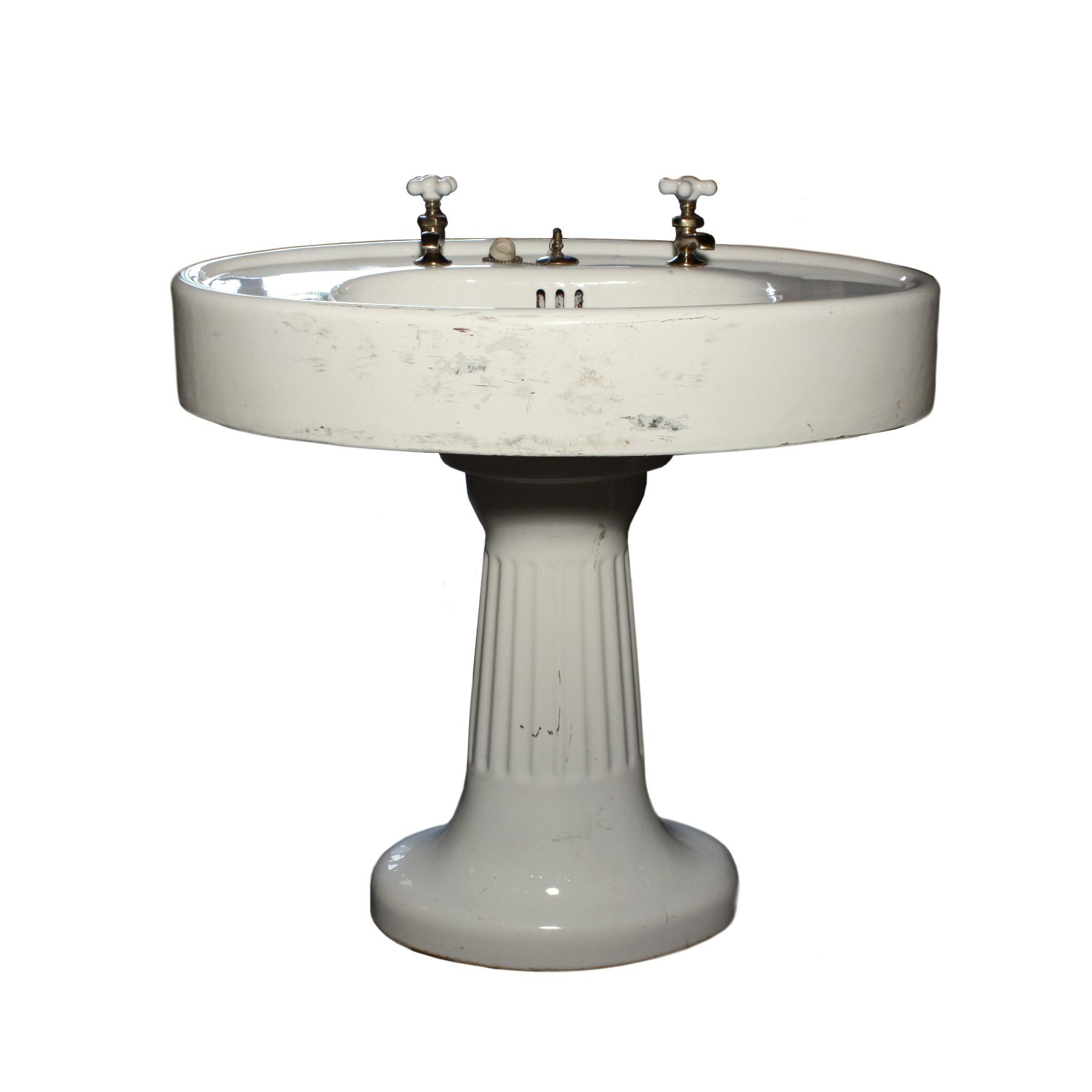 Remarkable Antique Porcelain Pedestal Sink c1910 NSK3RW