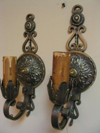 Vintage Pair Brass Wall Sconces For Sale | Antiques.com ...
