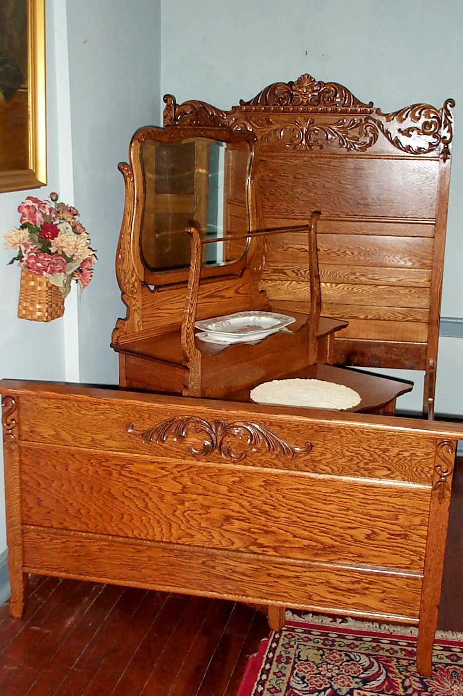 Three Piece Solid Oak Bedroom Set  For Sale  Antiquescom  Classifieds