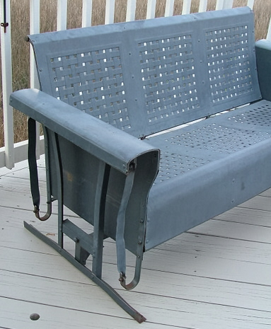 vintage three seat metal porch glider and two chairs for sale antiques com classifieds