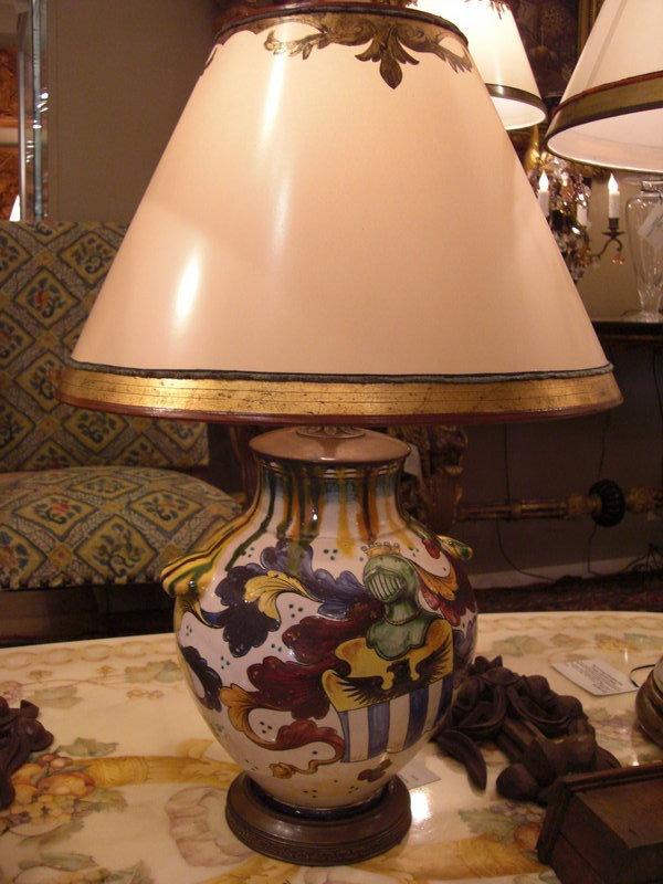 Decorative C 1920 Ceramic Italian Lamp with Shield For