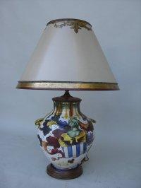 Decorative C. 1920 Ceramic Italian Lamp with Shield For ...