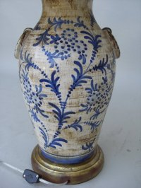 C. 1920 Italian Ceramic Blue and White Lamp For Sale ...