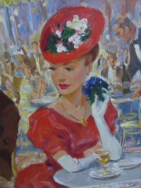 French Cafe Oil on Canvas Scene by P. Valois, C.1959 For ...