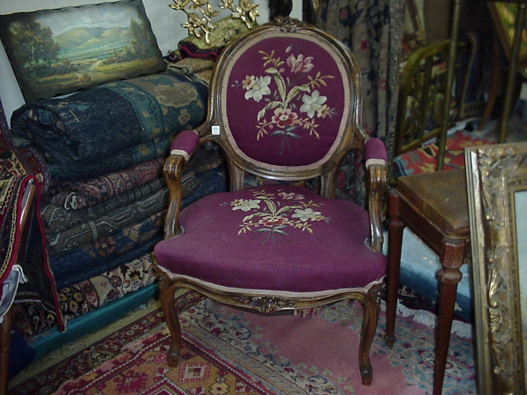 antique needlepoint chair costco camping chairs furniture