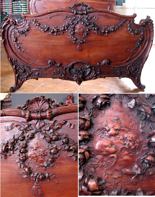 Antique Four Pc Carved Walnut French Rococo King Sized