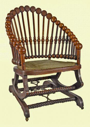 antique victorian folding rocking chair high back outdoor cushions hunzinger lollipop for sale | antiques.com classifieds