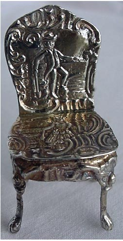 ANTIQUE MINIATURE SILVER CHAIR ROCOCCO ENGLAND For Sale