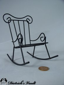 wrought iron rocking chair ebay uk christmas covers dollhouse for sale antiques com classifieds black this open work rocker has a high curved back and arms c 1970