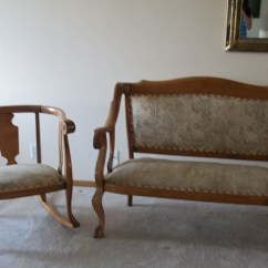 1920s Rocking Chair White Garden Table And Chairs Set Matching Oak Settee Era 1920 39s For Sale
