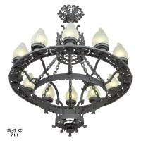 Large 12 Light Chandelier Antique Cast & Wrought Iron ...