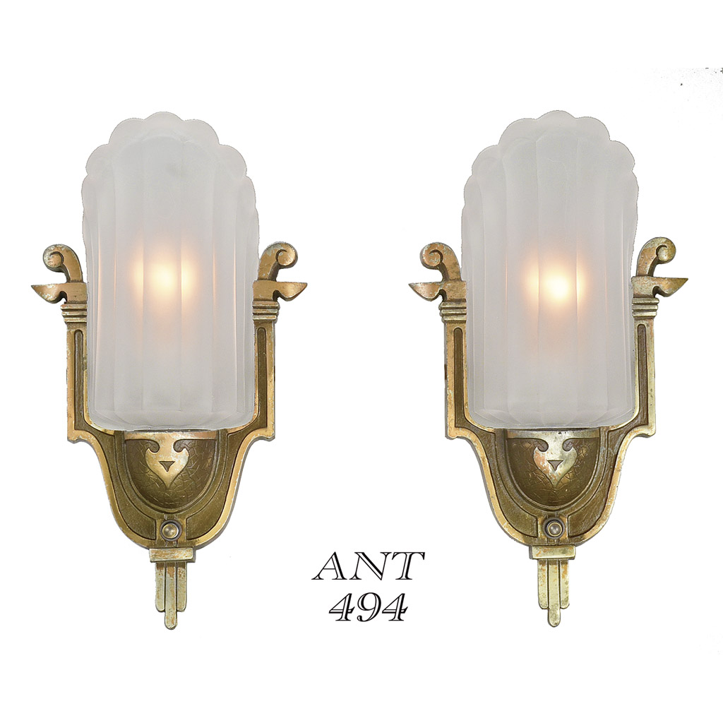 Antique Art Deco Wall Sconces by Mid