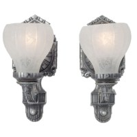 Antique Edwardian Style Pair of Pewter Color Wall Sconces