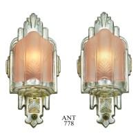 Art Deco Wall Sconces Antique Pink Slip Shade Lights 1930s ...