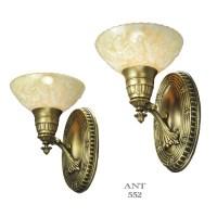 Art Deco Pair of Antique Brass Sconces Circa 1920s - 1930s ...